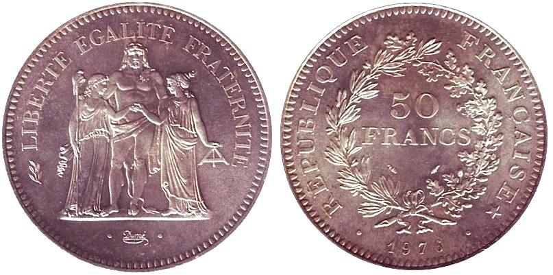 France 50 Francs Hercule 1976 Argent La Monnaie
