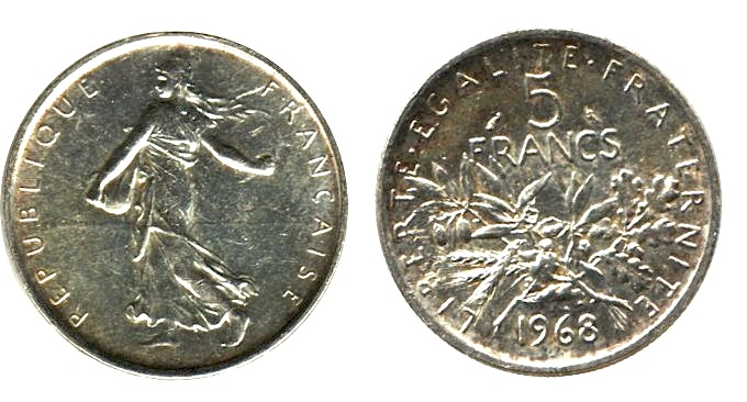 5 francs semeuse 1968